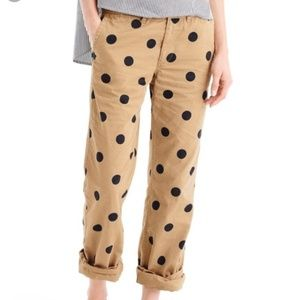 J. Crew Boyfriend Chino in Polka Dot Pants Relaxed